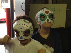 Ollie and Duncan with their masks.